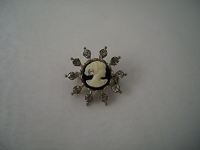 Victorian Style Gold Plated Rhinestone CAMEO Lapel Pin Brooch Pendant