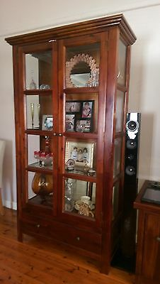 Glass & timber wall unit display cabinet