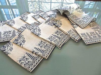 "12 Vintage Unused Chinese Hand Embroidered Rice Linen 12"" Napkins Blue Pagodas"