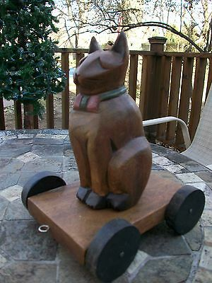 Vintage Folk Art Hand Carved Wooden Cat Pull Toy