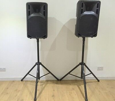 "2 X QTX Sound QRC15A Active 15"" Speakers (800w RMS) + Stands"