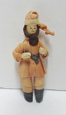 "Folk Art 3.5"" Corn Husk Bearded Russian Miniature Doll, Detailed Face, MINT"