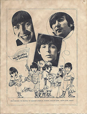Beatles Original 1966 KRLA Dogers Stadium Handbill, Second to last Concert!!!!