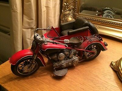 Tin Motorbike And Side Car Figurine Ornament