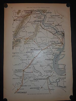 Civil War Map Of Military Operations In Virginia 1862 Hand Colored Manassas