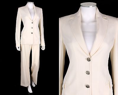 VTG 1980s GIANNI VERSACE COUTURE IVORY WOOL BLAZER PANTS SUIT SET SZ 42