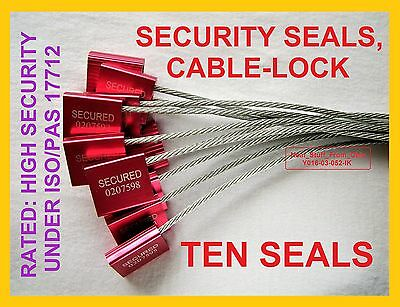 Cable-Lock Security Seals, Cargo/tanker, Ten Bright-Red High-Security 3.5Mm