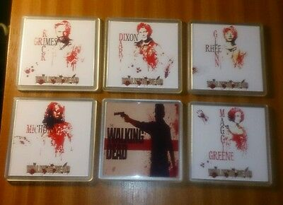 6 x The Walking Dead Coasters -Blood Red Collection-   +2 FREE TWD signed prints
