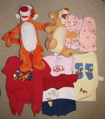 Disney Tigger & Pooh 0 - 6M Clothes, Blanket, Stuffed Animal, Tissue Holder Lot