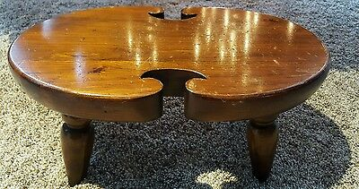 Petite Ethan Allen Antiqued Pine Wood Foot Stool Ottoman Bench Seat