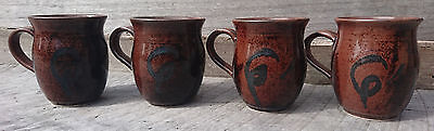 Set of 4 vintage brown pottery coffee mugs - marked