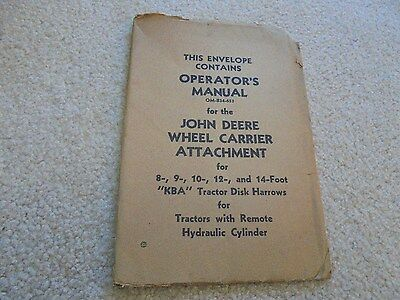 Vintage John Deere Wheel Carrier Attachment Operator's Manual