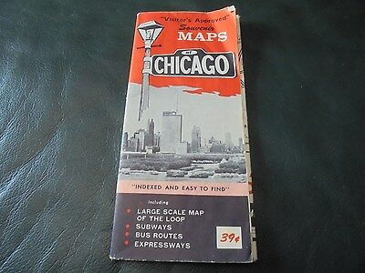 Vintage 1969 Map of Chicago, Illinois Ill. Visitor Approved Souvenir Road Map