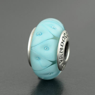 Authentic Genuine Pandora Sterling Silver Murano Blue Looking Glass - 790923