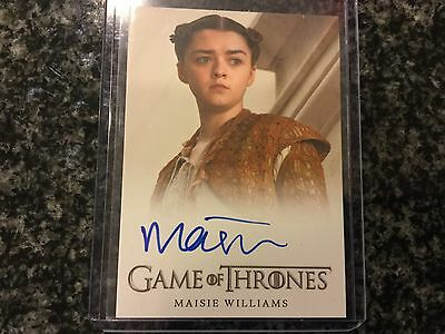 Maisie Williams Game Of Thrones On Card Auto Amazing Card Great TV Show