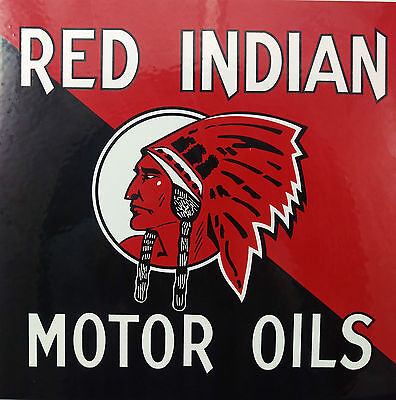 Red Indian Motor Oil Porcelain Metal Sign Great Front Condition Pump Plate?