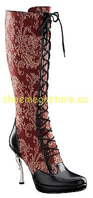Inamagura Metal Point Heel Boots Rot 24HSB100 Paisly Red