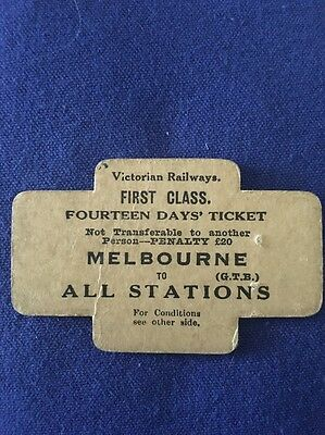 First Class 14 Day Ticket - Victorian Railways - Melbourne to All Stations 1968