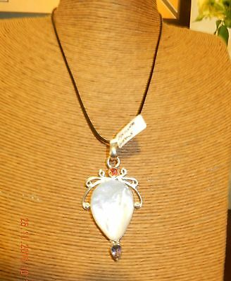 1 x pearl amethyst pendant sterling silver necklace silver fittings free post