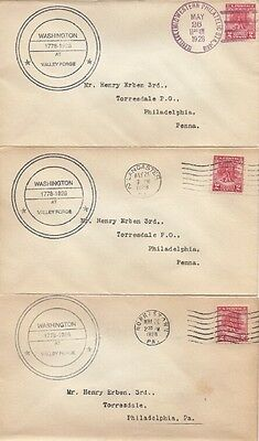 645 2c VALLEY FORGE - Lot of 7 Unlisted - Unknown R/S cachets