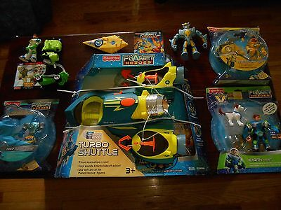 Planet Heroes Fisher Price Turbo Shuttle Three Spaceships + Figures  Lot Look !!