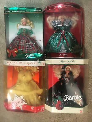 Unopened Collector Happy Holidays Barbie Doll Lot Set of 4 by Mattel