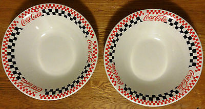 Coca Cola - 2 Large Serving Bowls Red Black White Checkered Gibson Euc 1996
