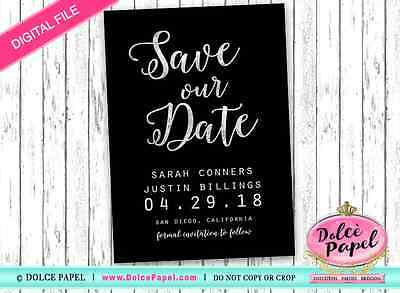 DIGITAL Black and Silver Foil SAVE OUR DATE Script Wedding Save The Date Card