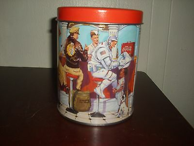 Vintage 1999 Coca-Cola Canister Tin W/Astronaut, Mail Carrier and Soda Jerk