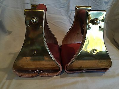"4"" MONEL (BRASS) BELL STIRRUPS w WEAR LEATHERS TREAD & NECK - USA - (NEW OTHER)"