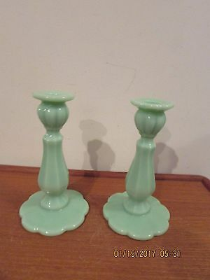 """2 Matching Jadite Candle Holders  Green 8 1/4"""" tall"""