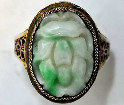 Antique Chinese Silver and Jade Ring Size 6