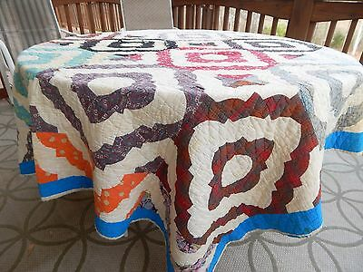 """Antique Hand Made Quilt 74"""" x 68"""" Cotton - Very Old Needs TLC"""