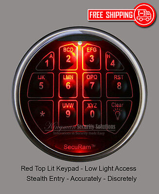 SecuRam TopLit Keypad & Lock Kit - Red Light - Chrome Finish