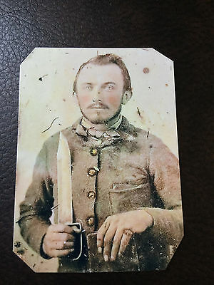 Civil War Military  SOLDIER with Large Knife TinType C849NP