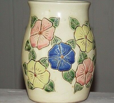 Pottery Vase Antique Earthworks Co. Floral Majolica Style