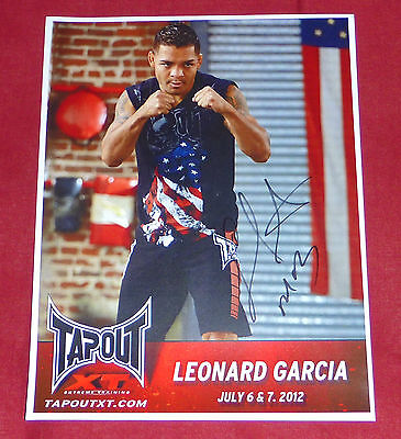 LEONARD GARCIA UFC FIGHTER SIGNED A4 TAPOUT CARD mma fight wwe wec pride