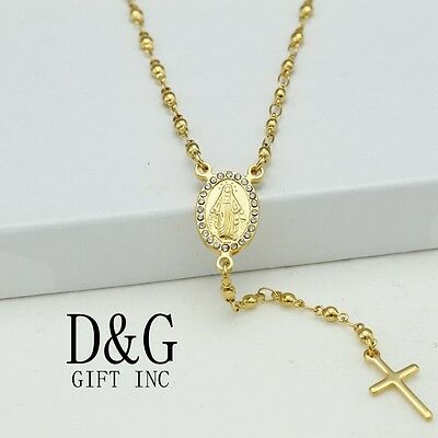 """DG 18"""" Stainless-Steel Gold,Beaded Rosary VIRGIN MARY.CROSS,CZ Mini Necklace*BOX"""