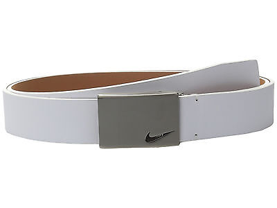 New Nike Mens No-Hole Plaque Leather Golf Belt - White - Small
