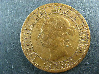 1 cent 1891 SD SD Obv. 3 Canada one large penny coin Queen Victoria 1c 1¢ VG-10