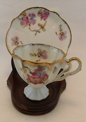 Vintage Napcoware Porcelain Cup & Saucer, Lusterware, Pink/White, Made in Japan