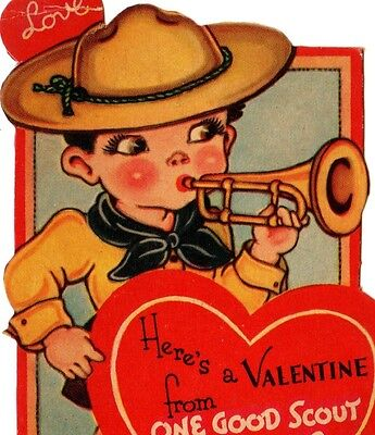 """Boy Scout With A Bugle """"from One Good Scout To Another"""" / Vintage Valentine Card"""
