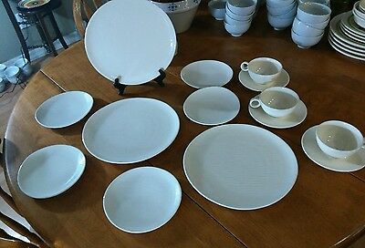 EUC Set 16 Raymor Contempora Steubenville IVORY WHITE Dinner Salad Plates Cups