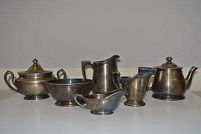 Vintage Lot 6 pc. R. Wallace Silver Soldered Tea Set w/ Teapot, Sugar, Creamer