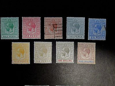 Bahamas. Short set of 9 KG5 LH mint + used stamps to 5s. 1912/19