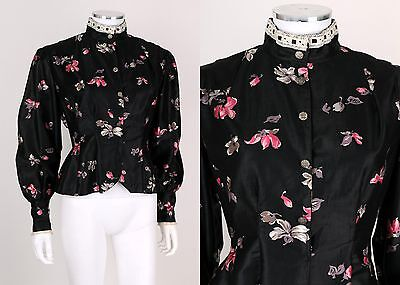 VTG VICTORIAN FABRIC 1940s BLACK MULTICOLOR FLORAL LACE FITTED BLOUSE TOP SZ M