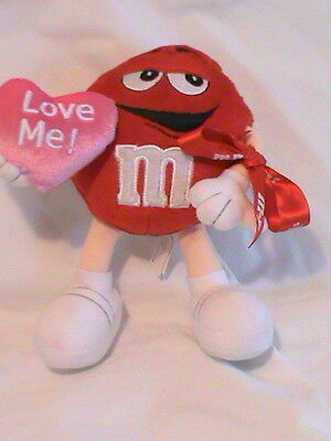 """M & M's Plush Red Character """"Love Me"""" whit heart and red bow"""