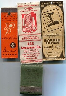 NEW YORK Illegal Gambling Casinos - 3 Covers/1 Matchbook 30s/50s