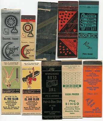 Vintage Idaho Illegal Gambling Casino - 10 Matchbook Covers/ 1 Matchbook 30s/50s