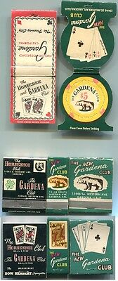 Vintage Ca GARDENA CLUB Gambling Casino - 3 Matchbooks & 2 Covers